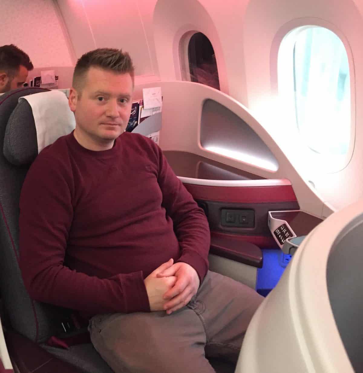Will Hislop aka WorldWideWill on Qatar Airways 787 Dreamliner Business Class