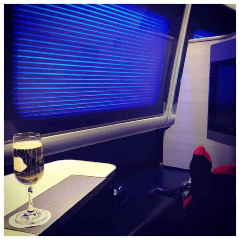 British Airways First Class - Feet up, Champagne, Ready for takeoff!
