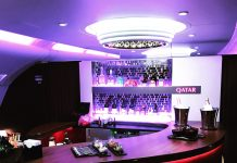 Qatar Airways Airbus A380 onboard bar by WorldWideWill