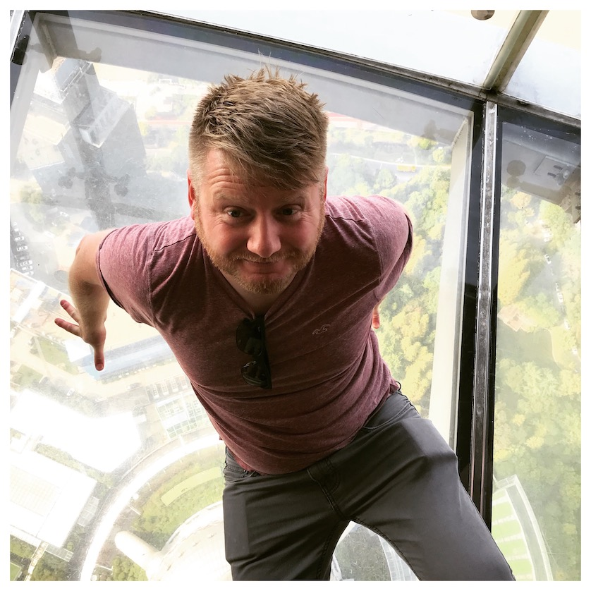 Will Hislop on the glass floor of the Oriental Pearl Tower WorldWideWill